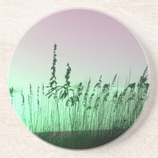 sea oats red green florida sunrise drink coaster