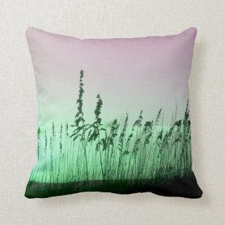 sea oats red green florida sunrise pillow