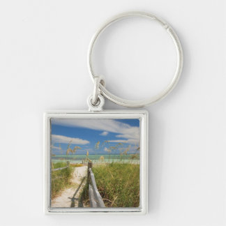 Sea oats Uniola paniculata) growing by beach, Silver-Colored Square Keychain