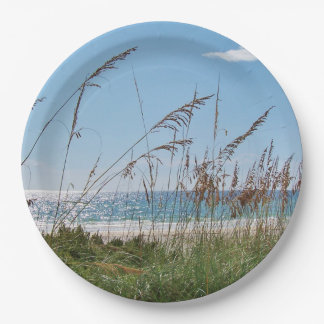 Sea Oats, White Sand and Surf Paper Plate