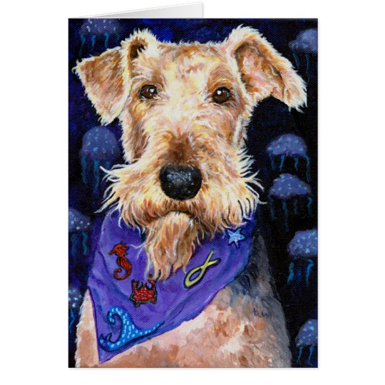 Sea Ocean Beach Airedale Terrier dog original imag Card