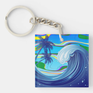 Sea Ocean big Wave Water Double-Sided keychain