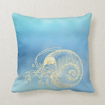 McTiffany Tiffany Aqua Sea Ocean Blue Aqua Ombre Tiffany Gold Crab Throw Pillow