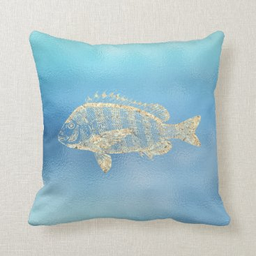 McTiffany Tiffany Aqua Sea Ocean Blue Aqua Ombre Tiffany Gold Grouperfish Throw Pillow