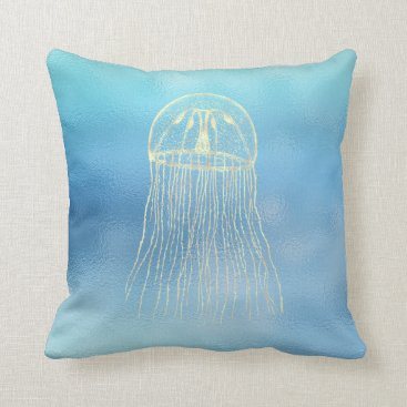 McTiffany Tiffany Aqua Sea Ocean Blue Aqua Ombre Tiffany Gold Jellyfish Throw Pillow