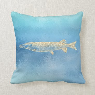 McTiffany Tiffany Aqua Sea Ocean Blue Aqua Ombre Tiffany Gold Pikefish Throw Pillow