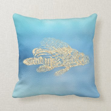 McTiffany Tiffany Aqua Sea Ocean Blue Aqua Ombre Tiffany Gold Red Fish Throw Pillow