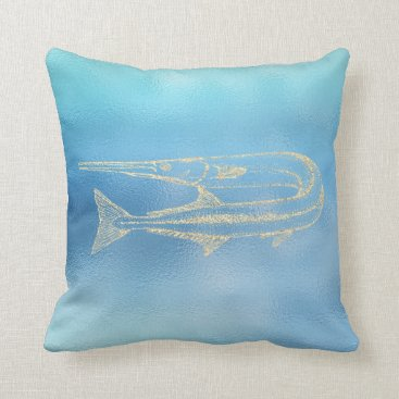 McTiffany Tiffany Aqua Sea Ocean Blue Aqua Ombre Tiffany Gold Swardfish Throw Pillow