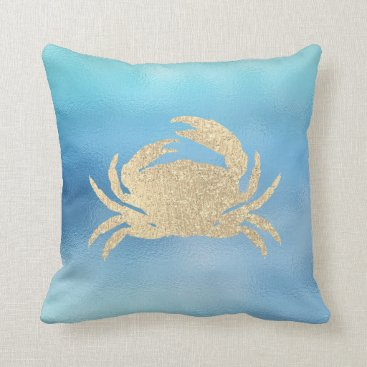 McTiffany Tiffany Aqua Sea Ocean Blue Aqua Ombre Tiffany Golden Crab Lux Throw Pillow