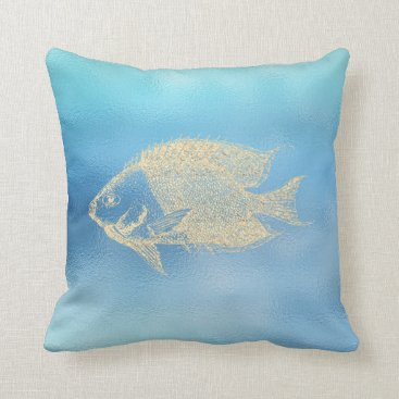 McTiffany Tiffany Aqua Sea Ocean Blue Aqua Ombre Tiffany Golden Fish Lux Throw Pillow