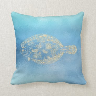McTiffany Tiffany Aqua Sea Ocean Blue Aqua Ombre Tiffany Golden Place Fis Throw Pillow