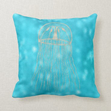 McTiffany Tiffany Aqua Sea Ocean Blue Aqua Turquoise Tiffany Jellyfish Throw Pillow