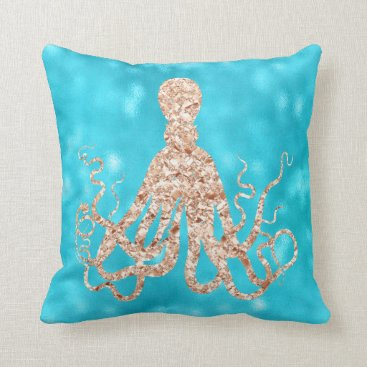 McTiffany Tiffany Aqua Sea Ocean Blue Aqua Turquoise Tiffany Octopus Rose Throw Pillow
