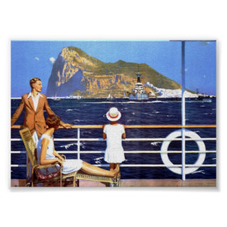 Sea Ocean Cruise Travel to Gibraltar Vintage Poster