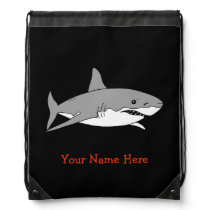 sea ocean grey shark - just add name drawstring backpack