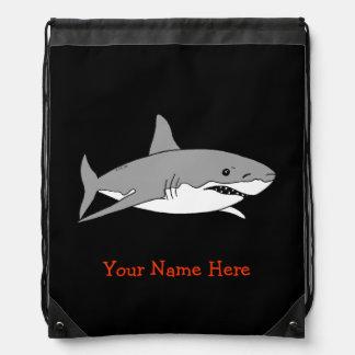 sea ocean grey shark - just add name drawstring bag