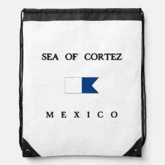 Sea Of Cortez Mexico Alpha Dive Flag Drawstring Bag