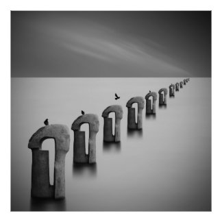 Sea Of Fog Black And White Fine Art Photography Poster