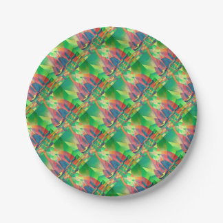 Sea of Green With Cubist Abstract Junks Paper Plate