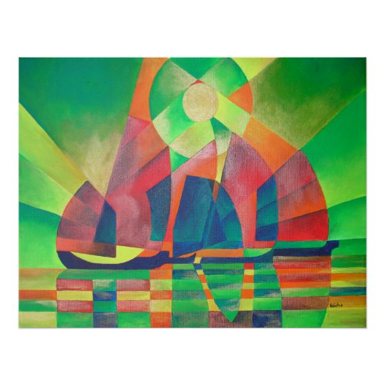 Sea of Green With Cubist Abstract Junks Poster