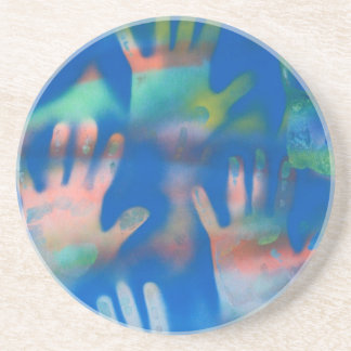 Sea of Hands, Orange and Green on blue Coaster