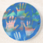 Sea of Hands, Orange and Green on blue Coasters