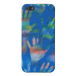 Sea of Hands, Orange and Green on blue Case For iPhone 5