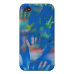 Sea of Hands, Orange and Green on blue iPhone 4 Case