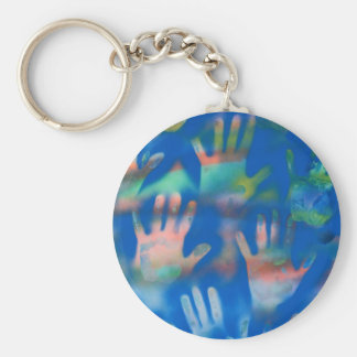 Sea of Hands, Orange and Green on blue Basic Round Button Keychain
