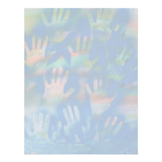 Sea of Hands, Orange and Green on blue Letterhead