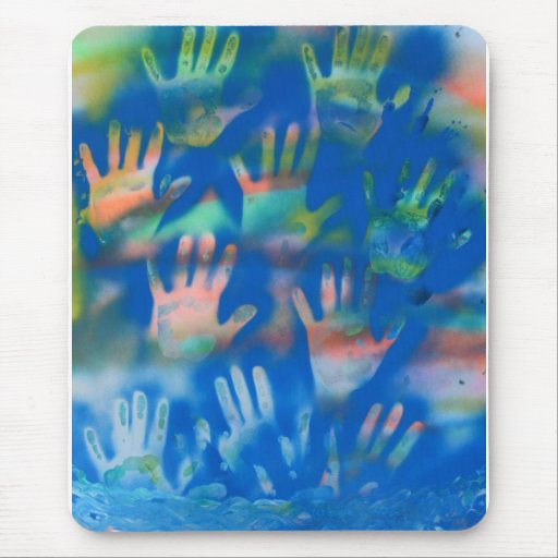 Sea of Hands, Orange and Green on blue Mouse Pad