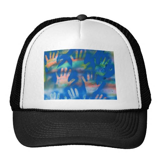 Sea of Hands, Orange and Green on blue Trucker Hat
