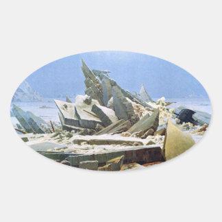 Sea of Ice - Das Eismeer - La Mer de Glaces Oval Sticker