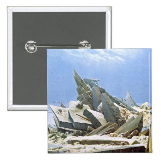 Sea of Ice - Masterpiece Painting by Friedrich Pinback Button