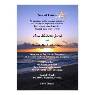 Sea of Love | Beach Sunset Starfish Wedding 5x7 Paper Invitation Card