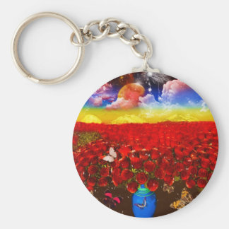 Sea of roses by Lenny clouds surreal Keychain