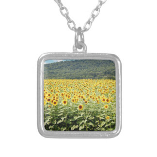 Sea of Sunflowers Silver Plated Necklace