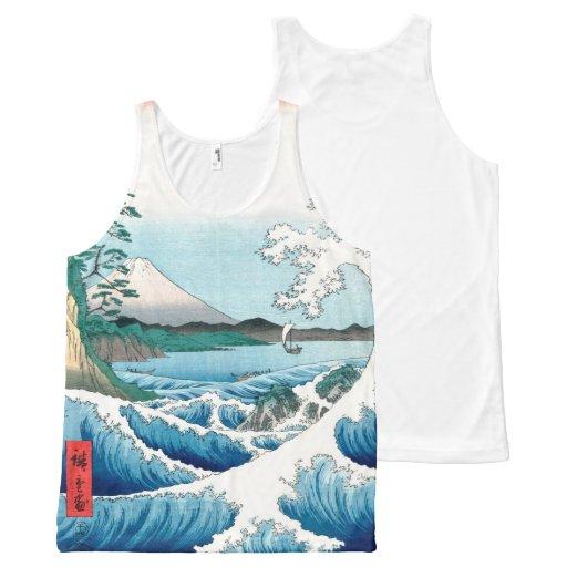 Sea Off Satta, Hiroshige Vintage Japanese Fine Art All-Over Print Tank Top Tank Tops, Tanktops Shirts