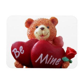 Sea oso de peluche de la mina con los corazones rectangle magnet