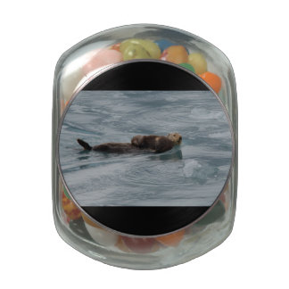sea otter and baby glass jar