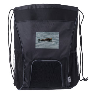 sea otter and baby drawstring backpack