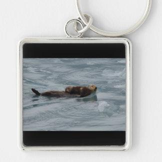sea otter and baby keychain