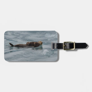 sea otter and baby luggage tag
