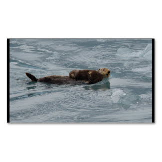 sea otter and baby magnetic business card
