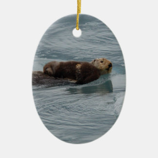 sea otter and baby christmas ornament