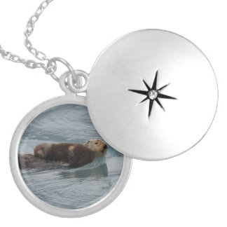 sea otter and baby silver plated necklace