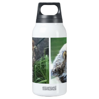 Sea otter and cheetah cub insulated water bottle