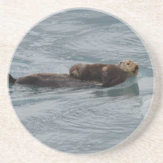 sea otter and pup coaster