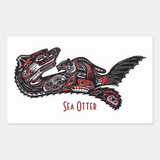 SEA OTTER & BABY (Haida Styled) Art Gift Sticker