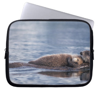 sea otter, Enhydra lutris lutris, mother with 2 Laptop Computer Sleeves